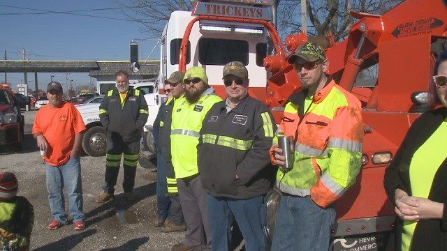 "Roadside workers and their families gather to support ""slow down, move over"" on Sunday. (Credit: KMOV)"