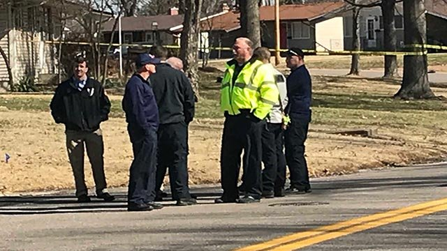 Officers in the area of Durness and Banavie Drive Monday morning (Credit: Russell Kinsaul /  KMOV)