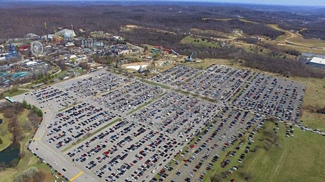 Aerial view of 2017 garage sale at Six Flags St. Louis. (Credit:  Josh Kahn and Katie Busk Reality Team)