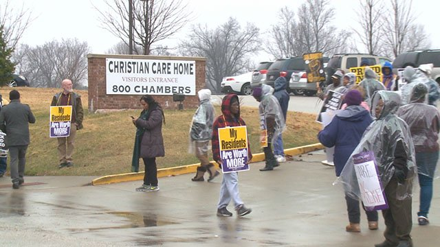 National Labor officials are siding with Ferguson health care workers as they enter their 90 day on the picket line. (Credit: KMOV)