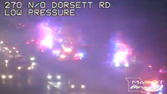 A multi-vehicle crash on NB I-270 north of Dorsett Thursday (Credit: MoDOT)