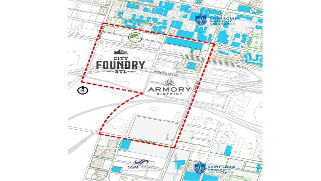 The area of Midtown that will be named based on votes (Credit: Saint Louis University)