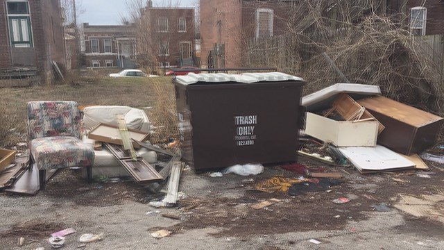 A Dutchtown homeowner says trash is piling up in his south St. Louis neighborhood. (Credit: KMOV)