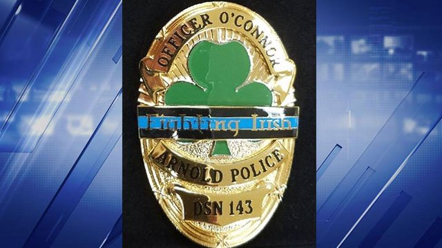 Arnold police's commemorative badge in honor of injured officer Ryan O'Connor. (Credit: Arnold Police Department)