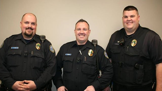 Members of the Arnold Police Department showing off their commemorative badges honoring officer Ryan O'Connor. (Credit: Arnold Police Department)