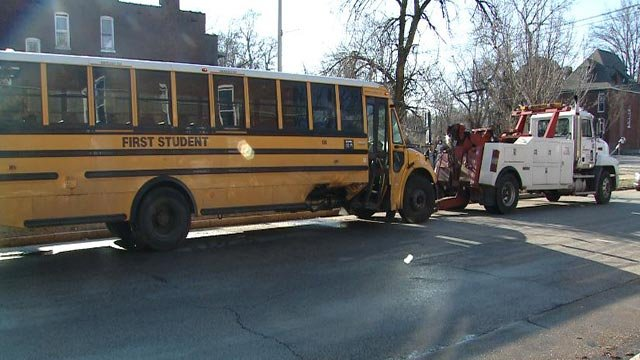 A bus was damaged when a car t-boned it in north St. Louis Friday morning (Credit: KMOV)