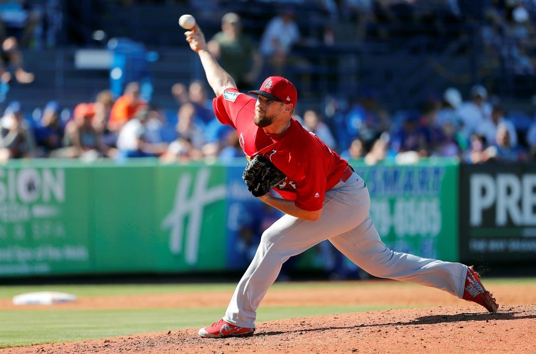 St. Louis Cardinals pitcher Bud Norris throws during the fourth inning of an exhibition spring training baseball game against the New York Mets Saturday, Feb. 24, 2018, in Port St. Lucie, Fla. (AP Photo/Jeff Roberson)