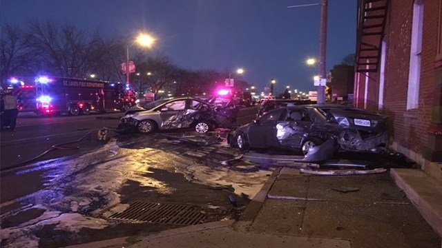 Two were injured in a hit-and-run accident in St. Louis Saturday (Credit: KMOV)