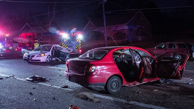 A serious multi-vehicle crash closed a section of  Reavis Barracks Road Sunday in St. Louis County ( Credit: Viewer Matt Arnold )