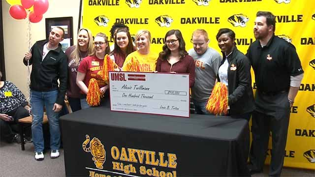 Oakville High School senior Alexis Tillman was one of several local high school seniors awarded scholarships to UMSL on Monday. Credit: KMOV