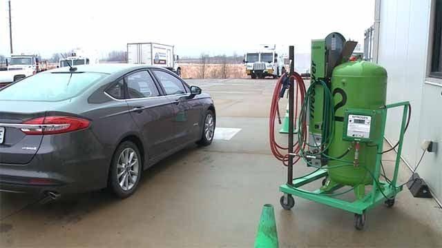 A nitrogen tire-filling station will soon open in St. Peters. Credit: KMOV