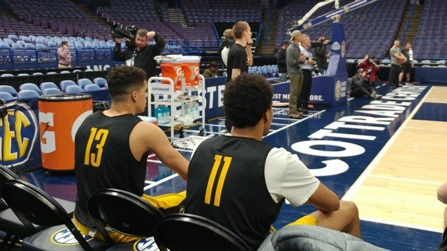 Michael Porter Jr. (left) and his brother Jontay (right) take a rest during Mizzou's practice ahead of the SEC Tournament. (Credit: Maurice Drummond, KMOV)