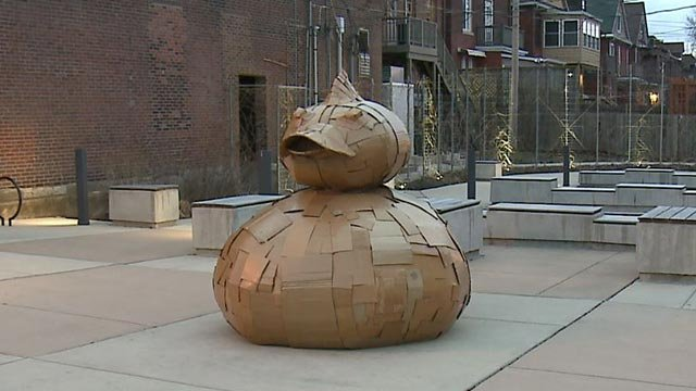 Justin King created the cardboard duck that sits in south St. Louis (Credit: KMOV)