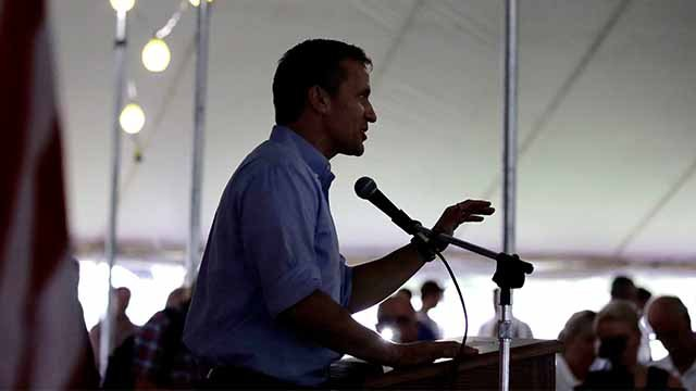 Missouri Gov. Eric Greitens addresses the crowd during the Governor's Ham Breakfast at the Missouri State Fair in Sedalia, Mo., Thursday, Aug. 17, 2017. (AP Photo/Charlie Riedel)