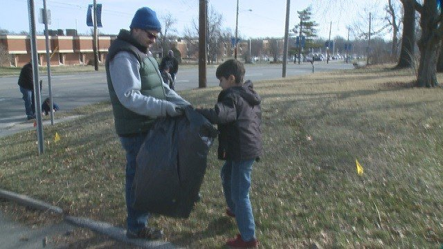 A community-wide clean-up in Kirkwood took place this weekend. (Credit: KMOV)