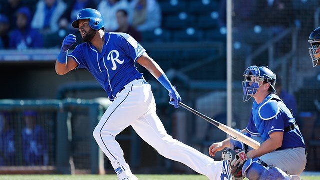 Kansas City Royals' Jorge Bonifacio bats during the fifth inning of a spring training baseball game against the Los Angeles Dodgers, Saturday, Feb. 24, 2018, in Surprise, Ariz. (AP Photo/Charlie Neibergall)