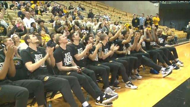 Mizzou Tigers wait anxiously for their name to be called for the NCAA tournament (Credit: KMOV)