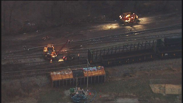 A train derailed in Granite City early Monday morning. (Credit: KMOV)