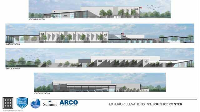 Rendering of the proposed ice complex in Maryland Heights next to Hollywood Casino. Credit: Maryland Heights
