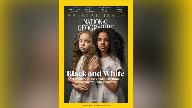 In this image provided by National Geographic, the cover of the April 2018 issue of National Geographic magazine, a single topic issue on the subject of race. (Credit: National Geographic via AP)