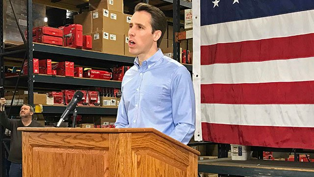 Missouri Attorney General Josh Hawley kicks off his campaign to win the GOP nomination for U.S. Senate, Tuesday, March 13, 2018, in Raytown, Mo. Hawley says he hopes President Donald Trump comes to Missouri often to support his campaign against Democratic