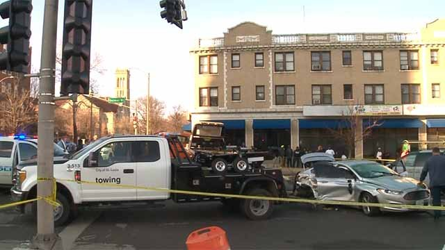 A chase ended in a crash near the intersection of Delmar and Union Tuesday evening. Credit: KMOV