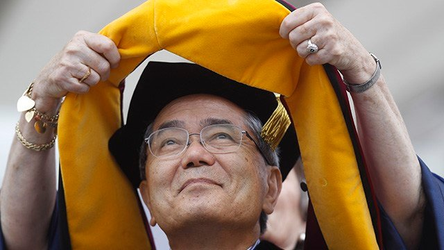 FILE - In this May 16, 2011 file photo, Nobel Prize winning chemistry professor Ei-ichi Negishi, of Japan, receives an honorary degree at the University of Pennsylvania's 255th Commencement, in Philadelphia. Authorities in northern Illinois are investigat