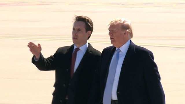 President Trump landed in St. Louis Wednesday and was greeted on the runway by Missouri Attorney General and Senate hopeful Josh Hawley. (Credit: KMOV)