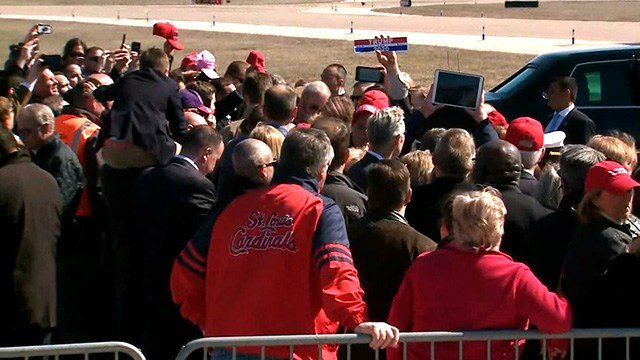 A crowd of supporters greets President Trump at Lambert Airport in St. Louis Wednesday. (Credit: KMOV)