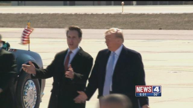 Missouri Attorney General and President Donald Trump shortly after Trump landed at Lambert Airport on Wednesday. Credit: KMOV
