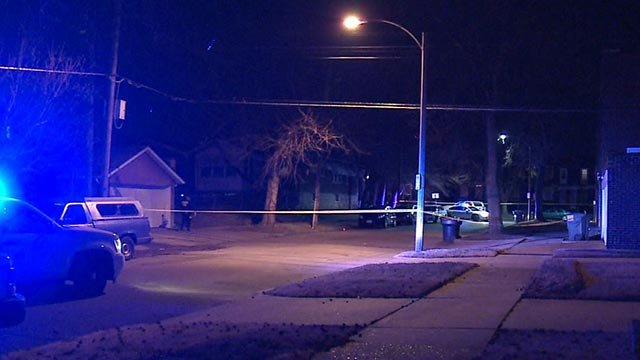 Police in the 3800 block of Alexander after a man was shot Wednesday (Credit: KMOV)