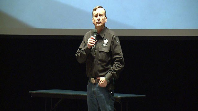 Lt. Col. Grossman speaks to students at Mascoutah schools about school violence ( Credit: KMOV)