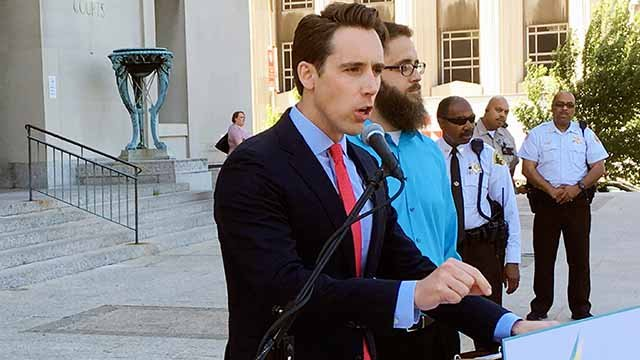 Missouri Attorney General Josh Hawley speaks at a news conference in St. Louis. (AP Images)