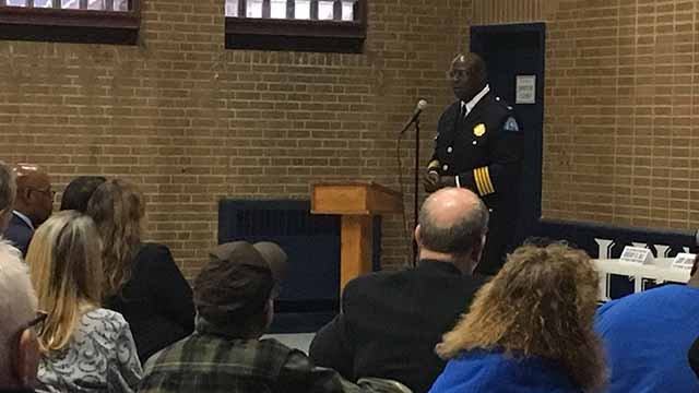 St. Louis Police Chief John Hayden and Public Safety Director Jimmie Edwards took questions at a meet and greet in South City Monday. Credit: KMOV