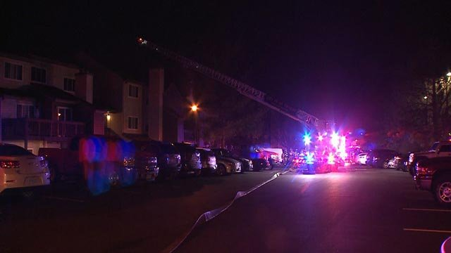 Fire crews in the 1800 block of Lakeshore early Wednesday (Credit: KMOV)