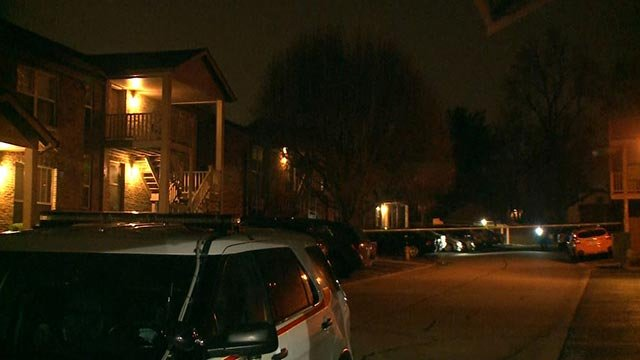 Crime scene tape after an early morning shooting in the 2400 block of Silkwood Drive (Credit: KMOV)