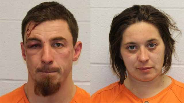 John Nenninger and Alesha Schmidt, both 35, are accused of stealing a car and fleeing police in O'Fallon, Mo. Credit: O'Fallon, Mo. PD