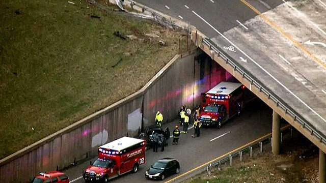 Multiple ambulances are on the scene of an accident near Soulard after a driver crashed onto Interstate 55. (Credit: KMOV)