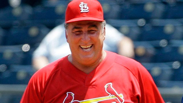 In this May 22, 2010, file photo, former St. Louis Cardinals baseball player Jack Clark smiles during a softball game against former Kansas City Royals players in Kansas City, Mo. (AP Images)