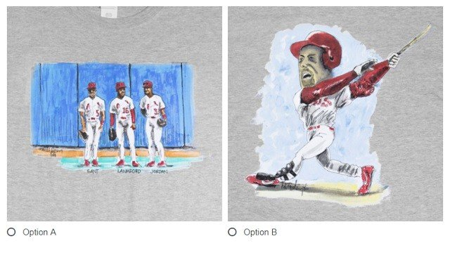 Fans can vote on which t-shirt they would like to be given away at the April 24 game. (Credit: Cardinals)