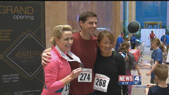 Steve Templeton climb 40 flights of steps in part of a Fight for Air fundraiser (Credit: KMOV)