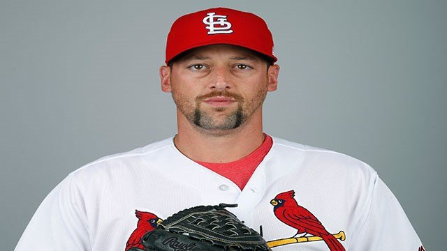 This is a 2018 photo of Luke Gregerson of the St. Louis Cardinals baseball team. This image reflects the Cardinals active roster as of Feb. 20, 2018 when this image was taken. (AP Photo/Jeff Roberson)