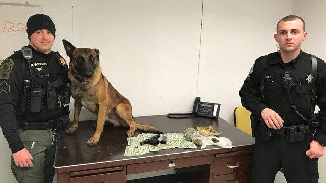 K9 officer Dallas and Caseyville officers stand with recovered items. (Credit: Caseyville Police Department)