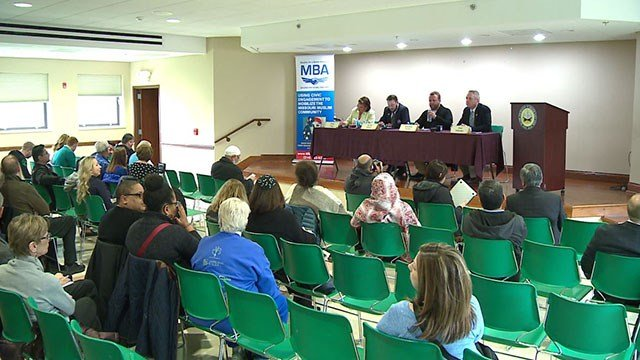 Four candidates were invited to an open forum by two Muslim organizations ( Credit: KMOV)