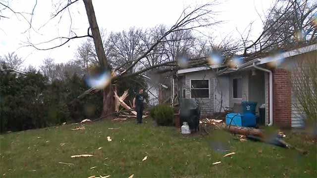 Firefighters say a home suffered heavy damage after lighting hit a tree, causing it to fall on the house. Credit: KMOV