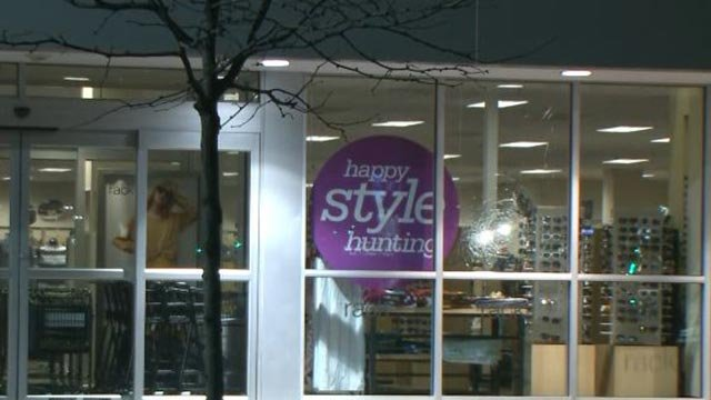 Window damage at a Nordstrom Rack store in Brentwood (Credit: KMOV)