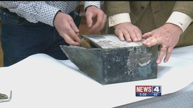 A capsule was found below the rubble of the burned down Clemens House. Credit: KMOV