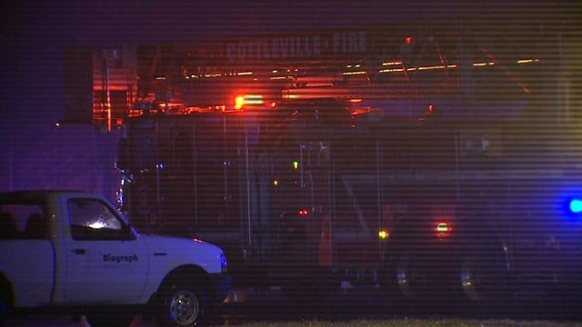 A fire truck outside a warehouse on Research Park Drive Thursday (Credit: KMOV)