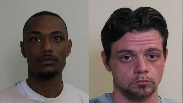 Michael Merrfield, 32, of Collinsville and Dalton Lemaster, 26, of Glen Carbon are charged with attempted first-degree murder, aggravated discharge of a firearm and aggravated unlawful restraint. Credit: Madison County Sheriff