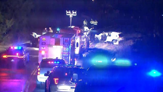 Emergency crews on Highway 47 following a double fatal crash Friday (Credit: KMOV)